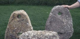 Three of the stone anchors from Dunbar - Scotland's Places