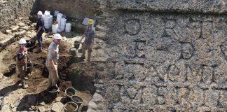 Excavating inside the Roman bath house. Image: Durham University