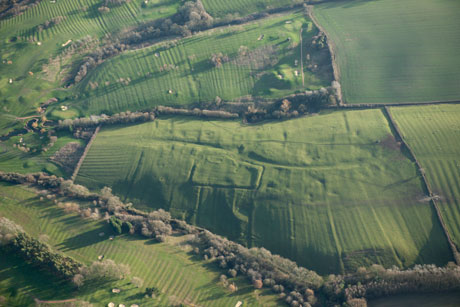 Aerial view of the deserted medieval village of Little Oxenden © English Heritage