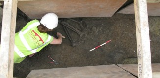 Rubicon archaeologists excavating the human remains at College Green (Copyright: Rubicon Heritage Services Ltd)
