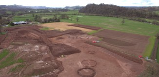 The Bronze Age features under excavation at Lovelodge Farm, Carmarthenshire (Taken by AeroPerspective for Rubicon Heritage & AB Heritage)