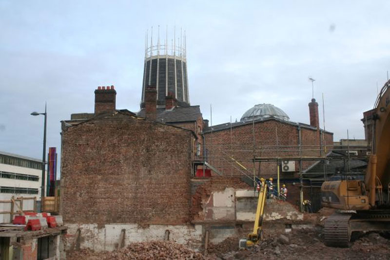 Archaeologists from OA North were recording Hope Hall as it was being dismantled. Image Oxford Archaeology