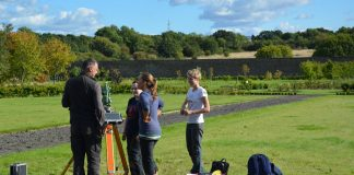 Training in topographic survey. Image: Doug Rocks-Macqueen [David Connolly's Camera though!]