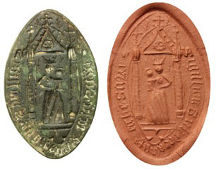 pointed oval seal matrix from the sub deanery of Salisbury, pictured left, made from copper-alloy between 1300-1400 AD