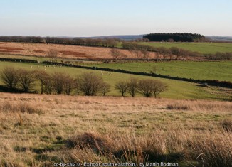 Moorland and pasture near the head of the Sparcombe Water. Seen from the Larkbarrow Corner © Copyright Martin Bodman and licensed for reuse under this Creative Commons Licence. http://www.geograph.org.uk/photo/80177