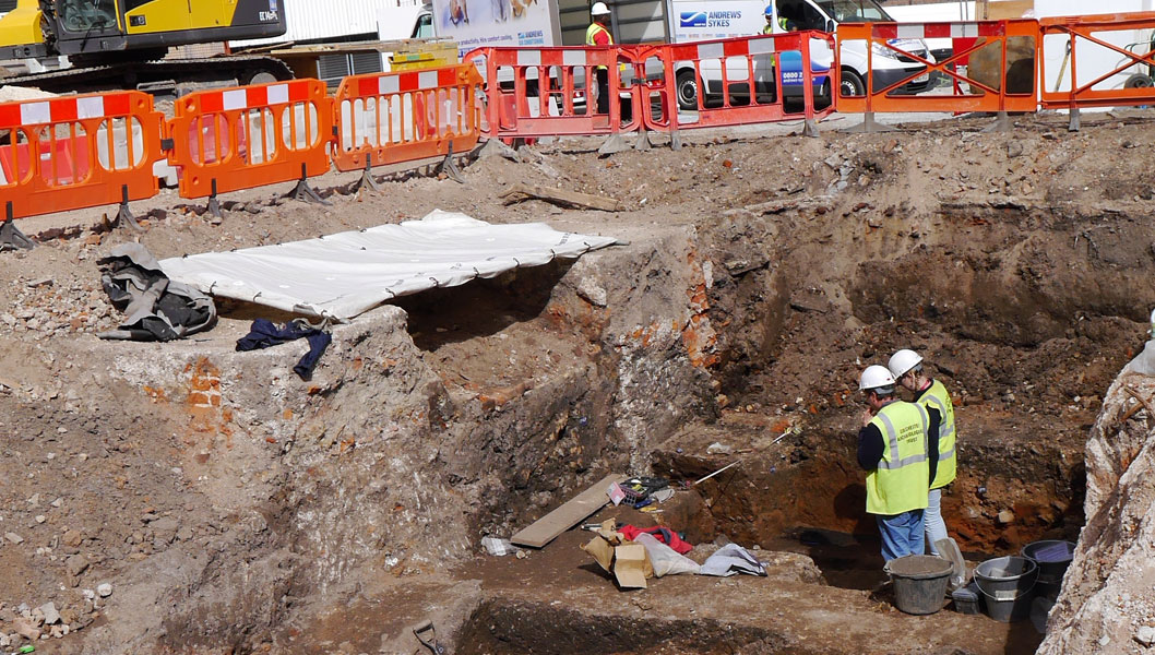 Excavation in Colchester High Street. Image: Colchester Archaeological Trust