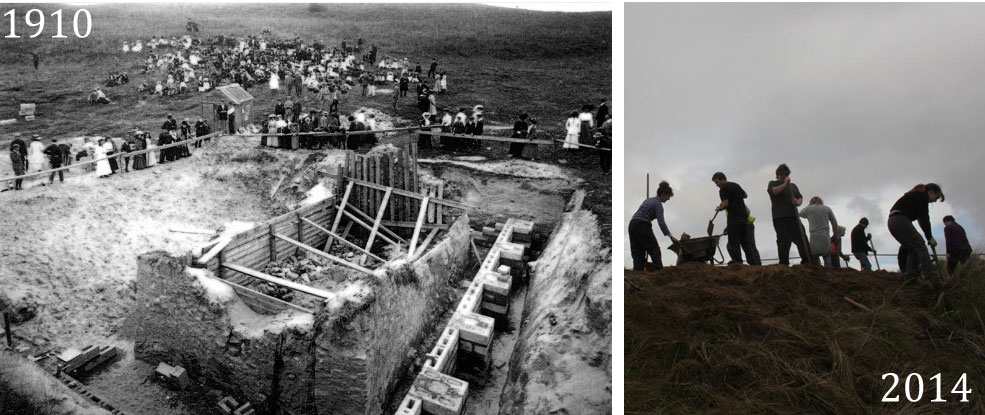 Work in 1910, and re-excavation in 2014. Image: Cornwall Archaeological Unit