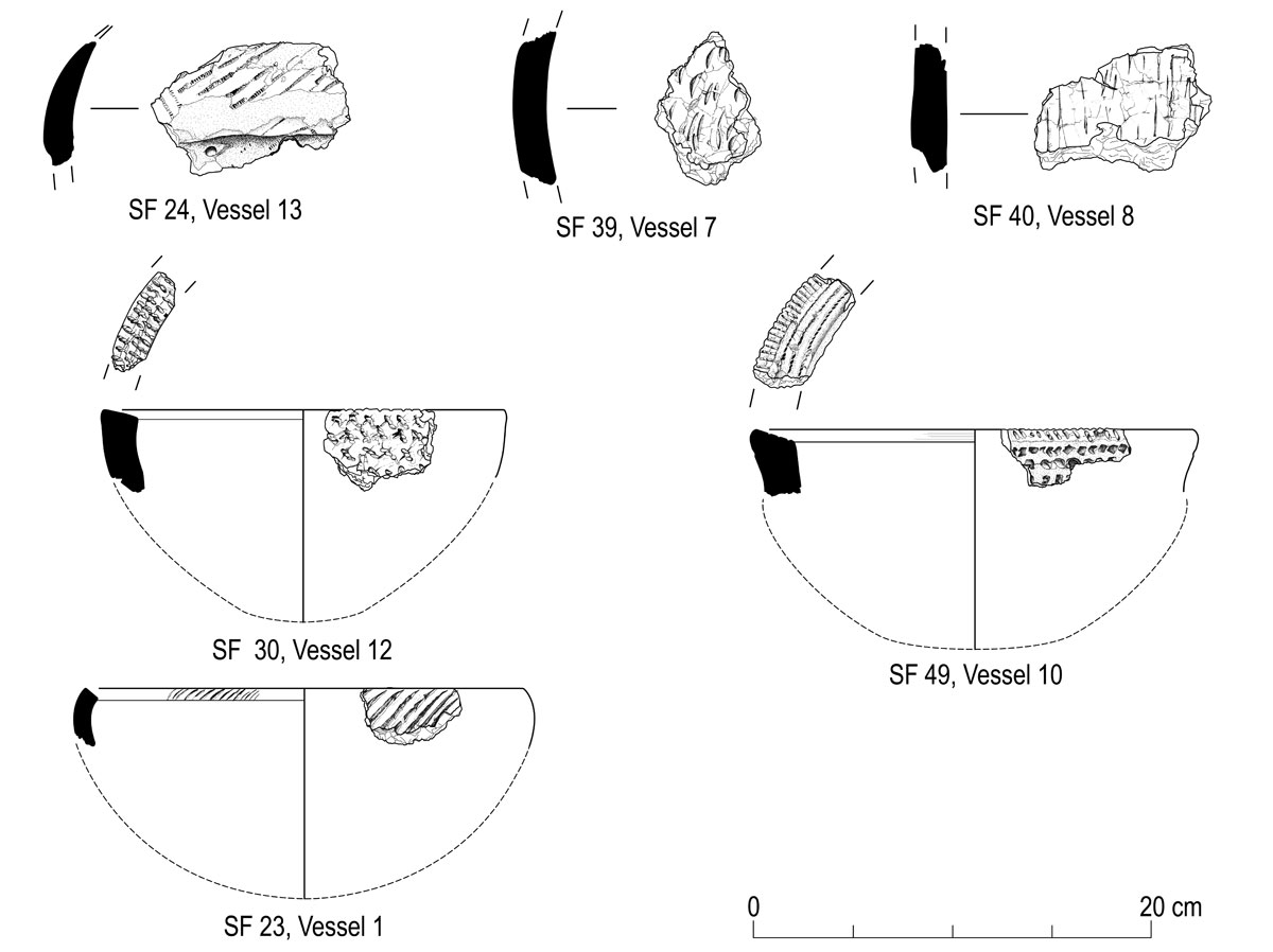 Prehistoric ceramic fragments from Monkton © GUARD Archaeology Ltd
