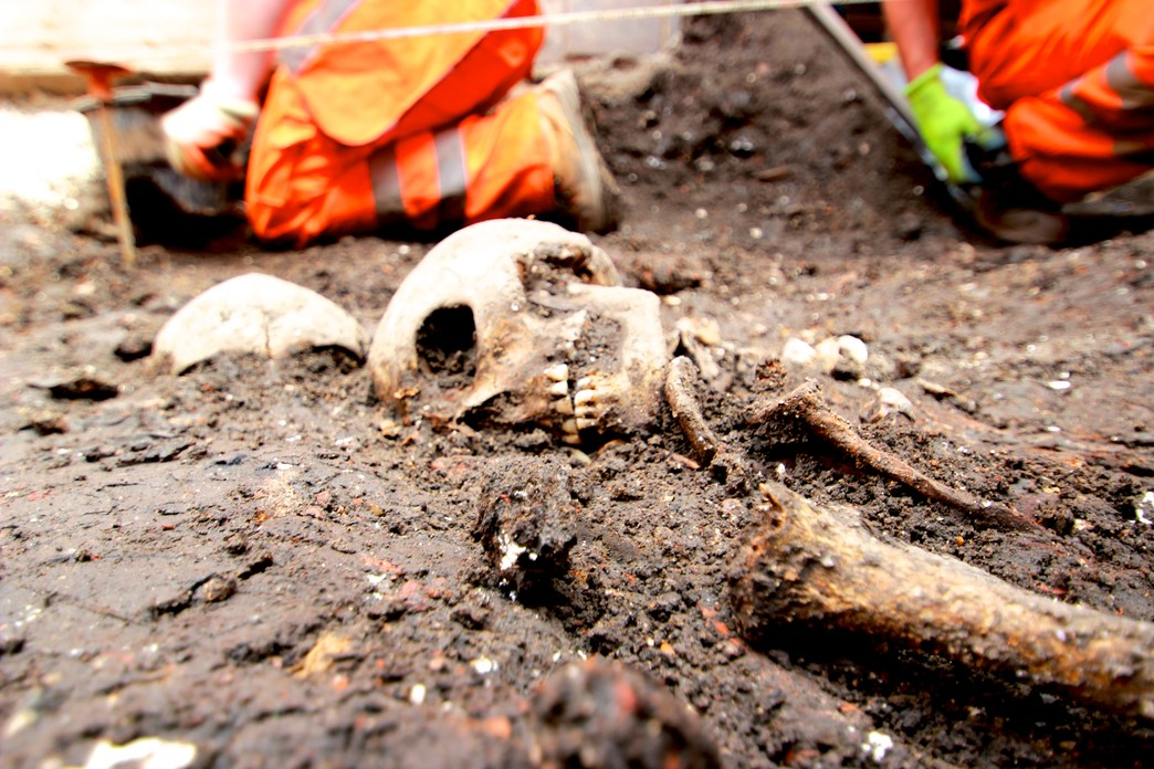 Archaeological finds at Bedlam burial site in Liverpool Street. Image: Crossrail Tom Lawson