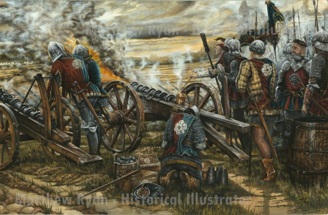 Painting of the Yorkist gunline at Northampton. copyright Matthew Ryan - Historical Illustrator