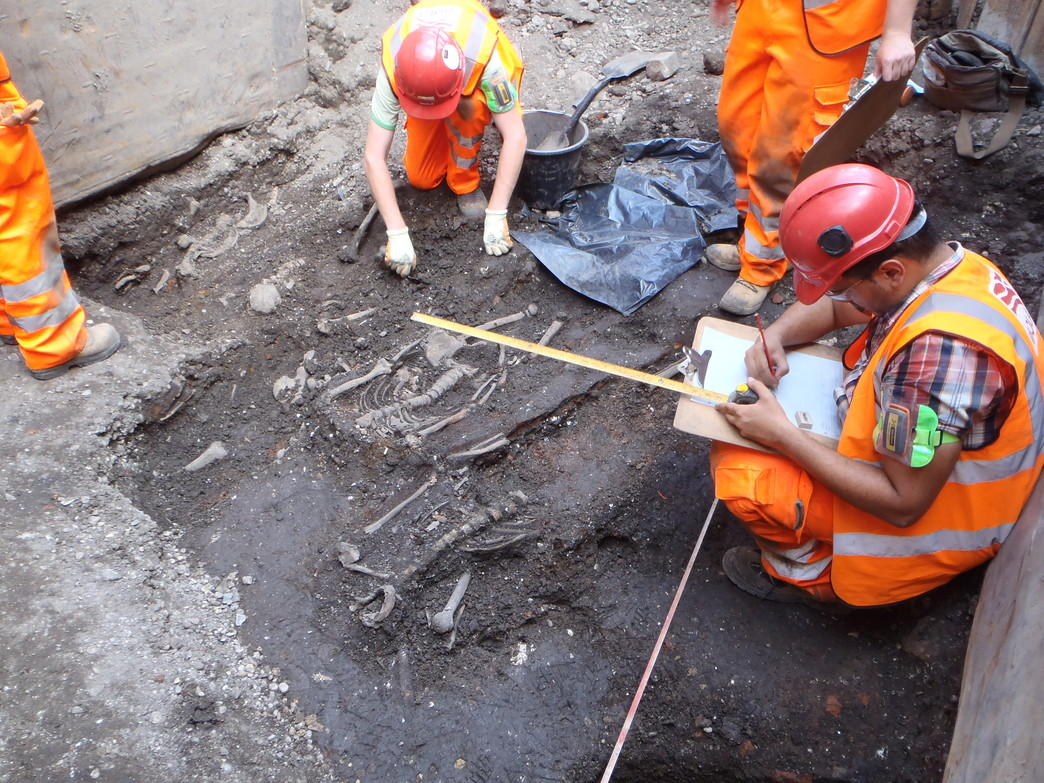 Broadgate ticket hall archaeology July 2014 Image: Crossrail Robert Hartle