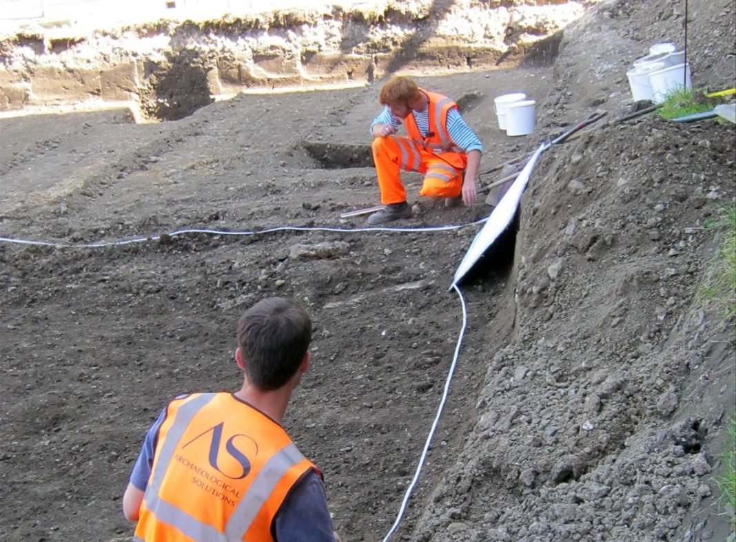 Excavation and recording at the Shire Hall site. Image: Archaeological Solutions Ltd