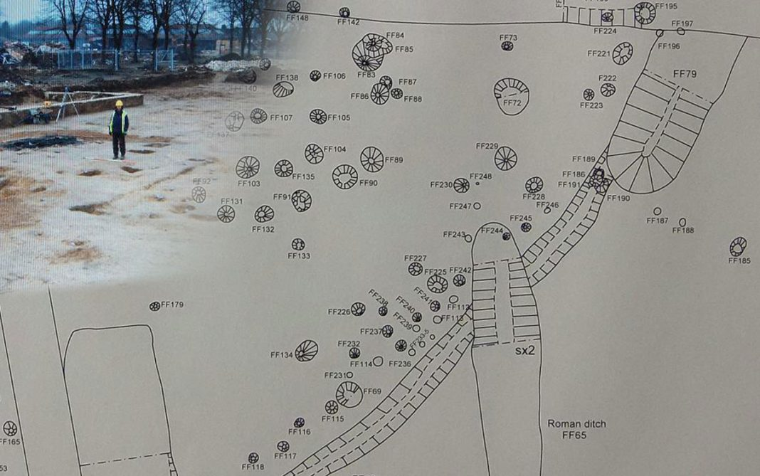 Detailed plan of Enclosure 3, and a site photo. Image: Colchester Archaeological Trust