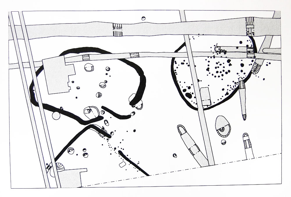 Plan of Site F and the three enclosures . Image: Colchester Archaeological Trust