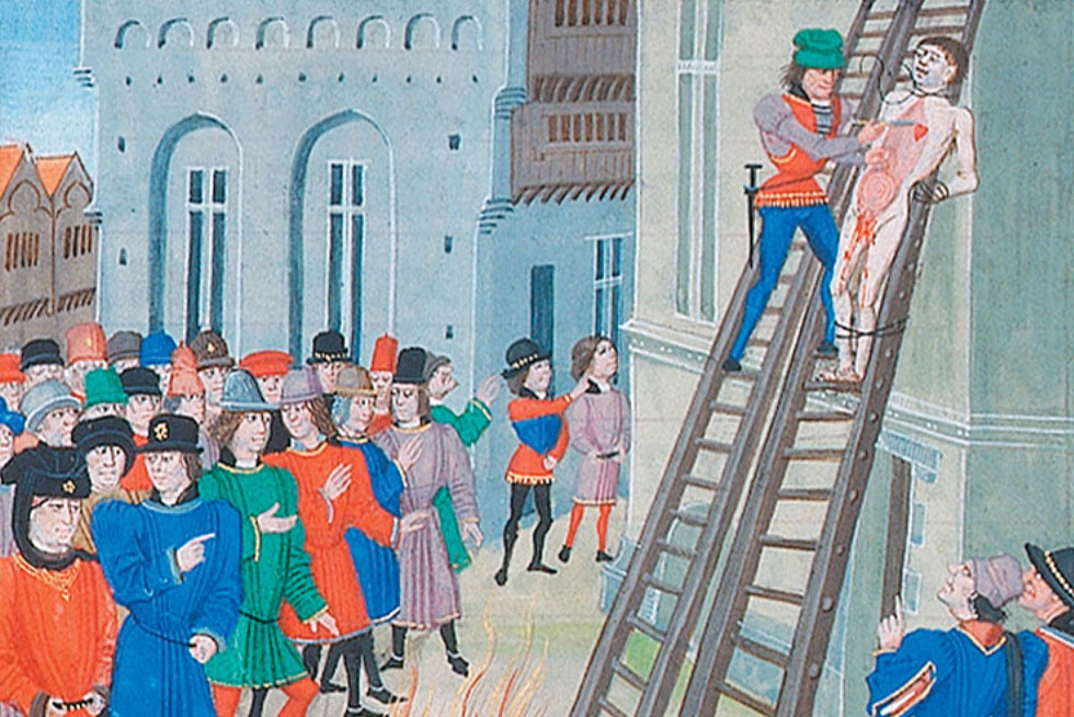 The execution of Hugh Despenser the younger. Image: Loyset Liédet (Figure 12, Page 122 of A Traitor's Death?) [Public domain], via Wikimedia Commons