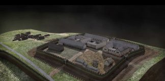 Image shows virtual reconstruction of Bar Hill Roman Fort, modelled using aerial and terrestrial laser scan data with input from a panel of archaeology experts. © Centre for Digital Documentation and Visualisation LLP