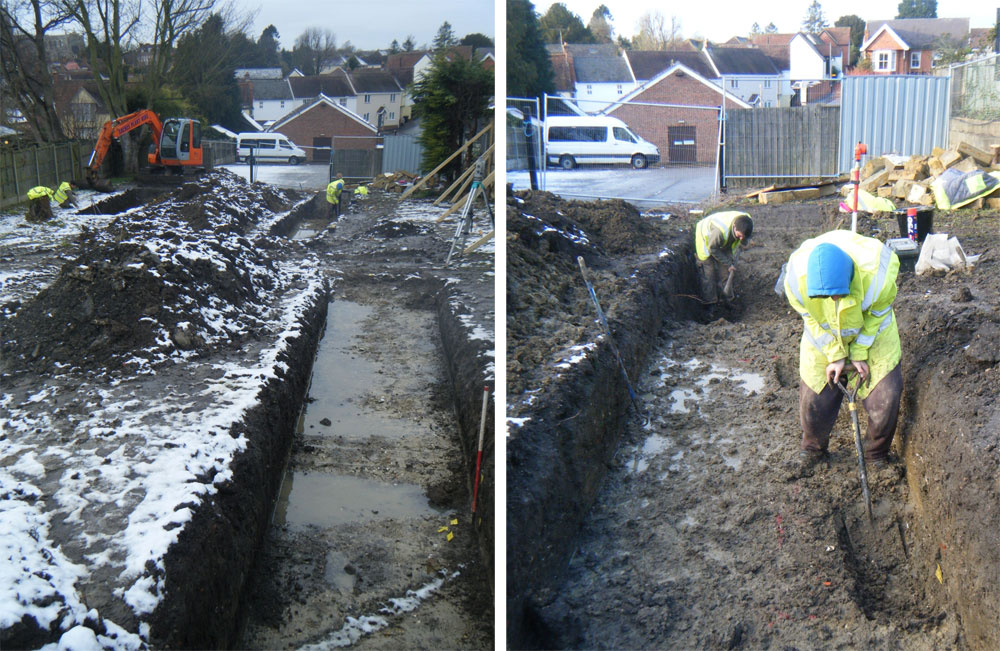 Trust archaeolgoists hard at work in harsh conditions. Image: Colchester Archaeological Trust