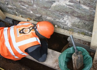 Excavation beneath the church. Image: CR Archaeology