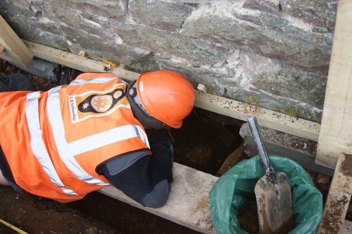 Excavation beneath the church. Image: CR Archaeology