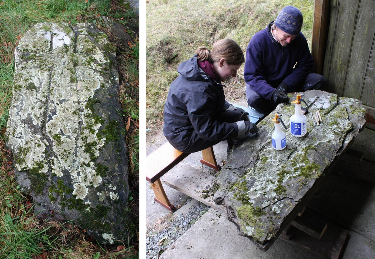 Elliott Ryder Conservation staff begin the conservation (right)  of the lifted stone. Image: Wessex Archaeology