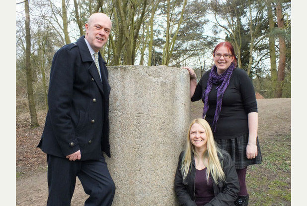 Councillor John Knight, Lorraine Horsley and Emily Gillott with the Roman pillar drum