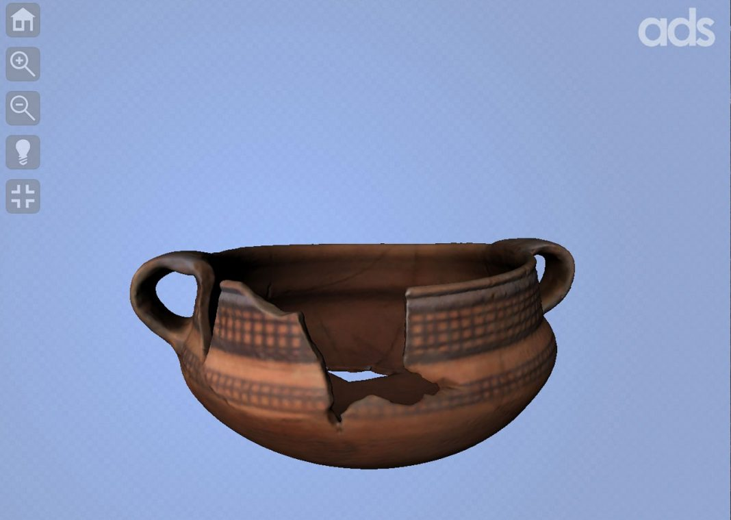 Blue/Black on Red Jar, ID 76449 in the ADS 3D viewer. © Egypt Exploration Society, Amarna Trust
