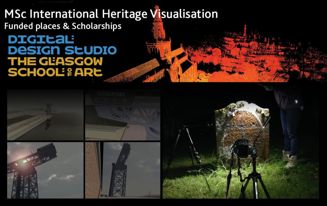 work made by MSc students (Reflectance Transformation Imaging taken at night at BallyHennan kirkyard near Arrochar, Loch Lomond, and virtual reality still of the Clyde crane. Images: ital Design Studio > copyright