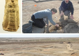 View over site, excavation of pot burial and Goddess Plaque