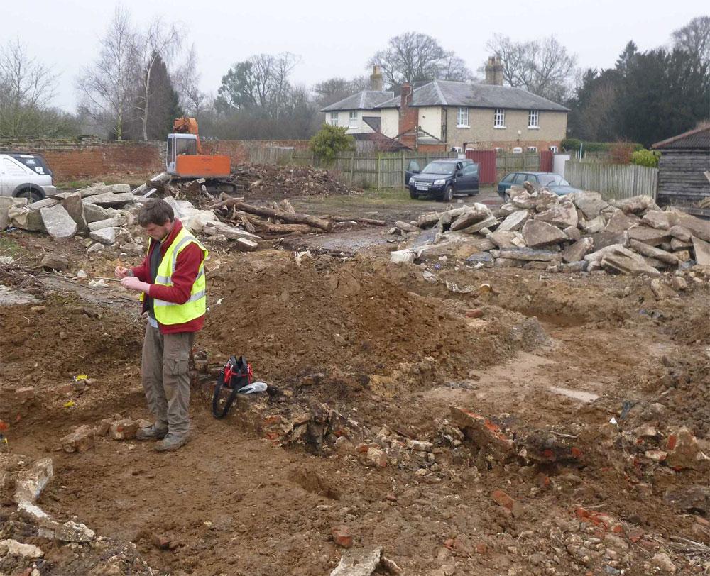 Part of the site and a brick plinth of the historic barn. Image: CAT