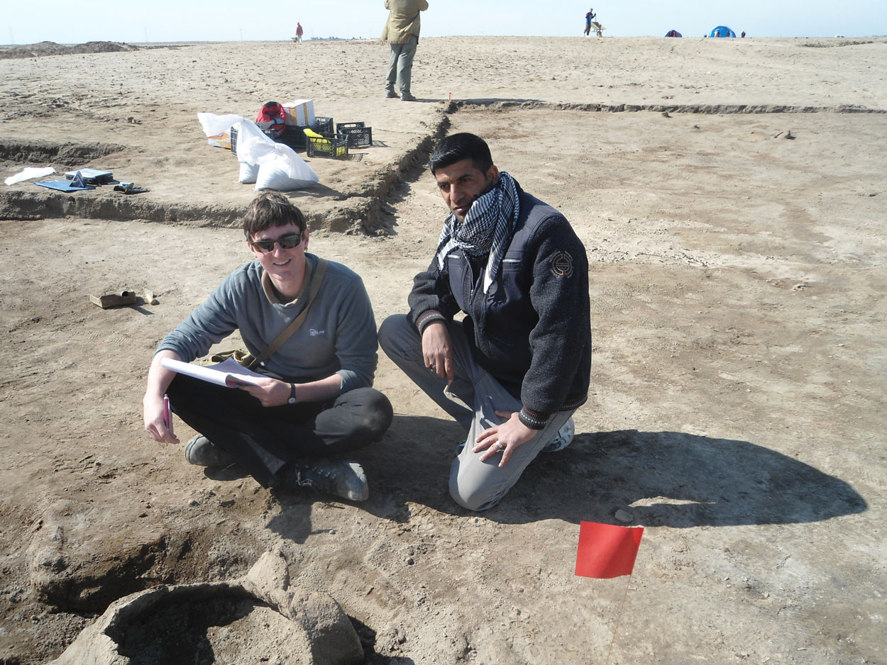 Working onsite on the double pot burial