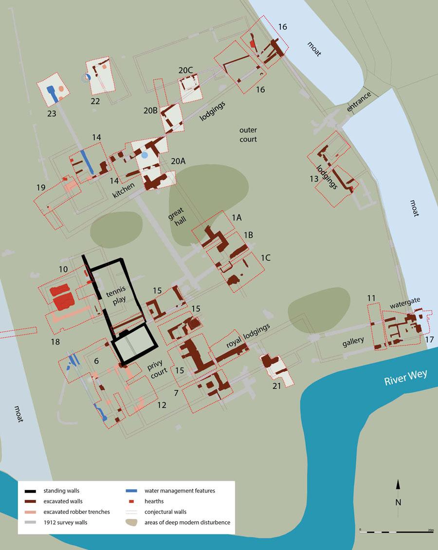 Woking Palace site plan. Image: Surrey Council Archaeology Unit