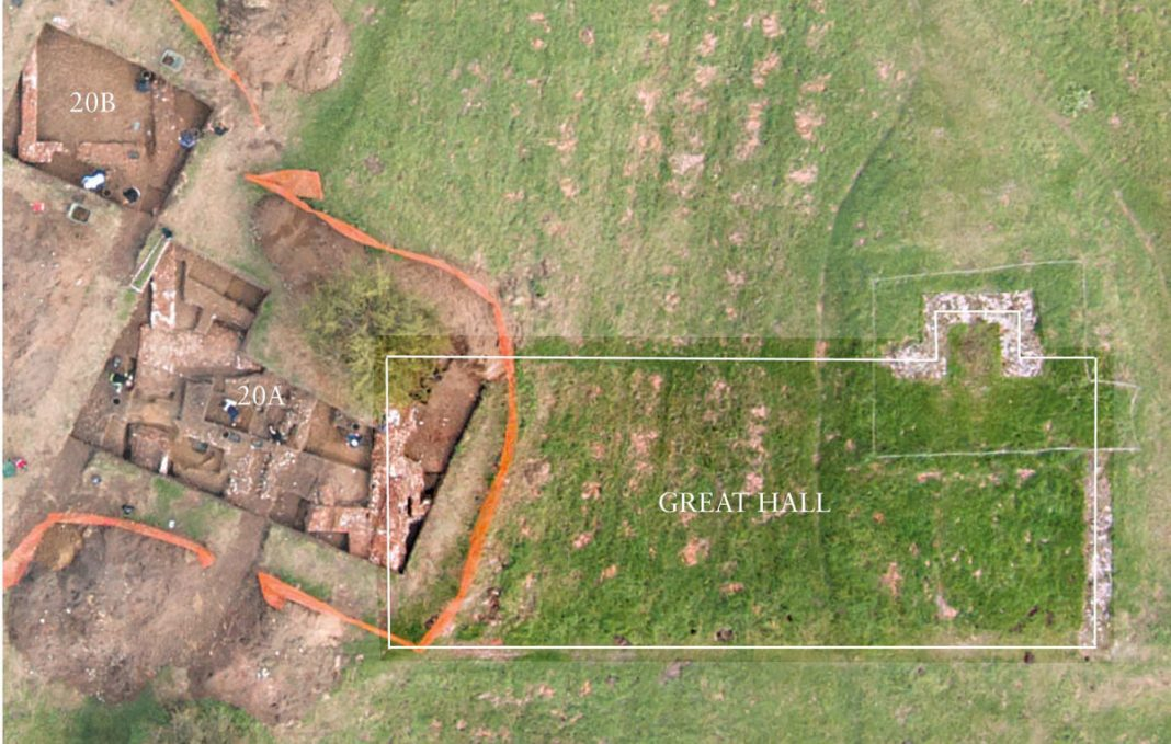 Woking Palace Great Hall and trench 20. Image: Surrey County Archaeological Unit (SCAU)