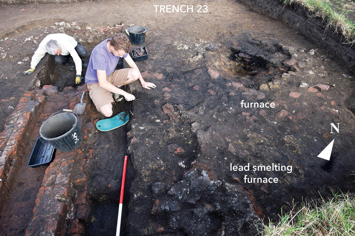 Woking Palace trench 23. Image: Surrey Council Archaeology Unit
