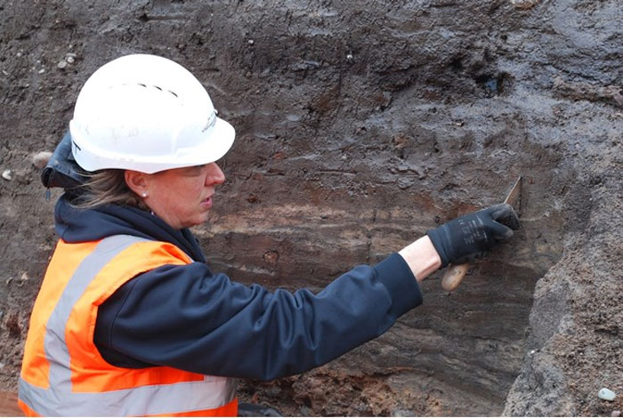 Emma Tetlow on site. Headland Archaeology Ltd