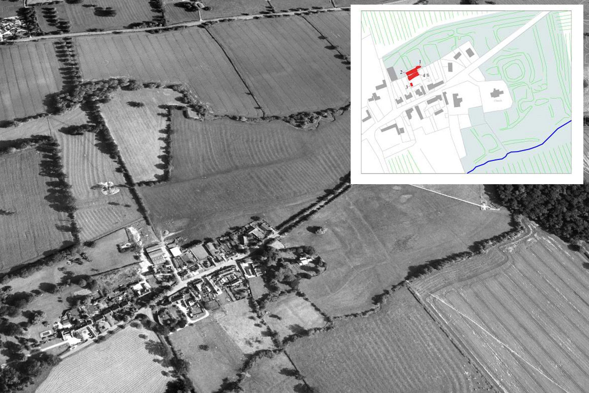 The earthworks of the 'Shrunken Medieval Village' at Marston Trussell are clearly visible to the north and east of the present village. Inset shows the area of the ULAS excavations at the back of the Sun Inn (shaded red) in relation to the 'shrunken village' earthworks.Image: ULAS