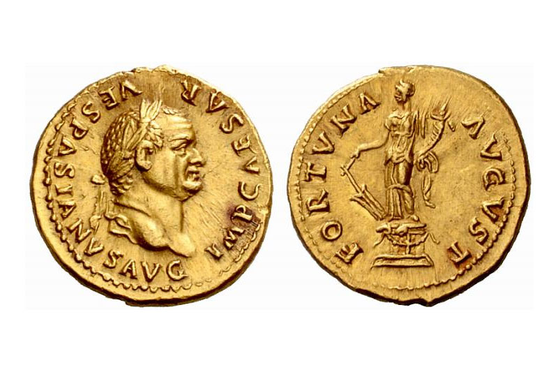 Vespasian aureus Fortuna: Classical Numismatic Group, Inc. http://www.cngcoins.com [GFDL (http://www.gnu.org/copyleft/fdl.html), CC-BY-SA-3.0 (http://creativecommons.org/licenses/by-sa/3.0/) or CC BY-SA 2.5 (http://creativecommons.org/licenses/by-sa/2.5)], via Wikimedia Commons