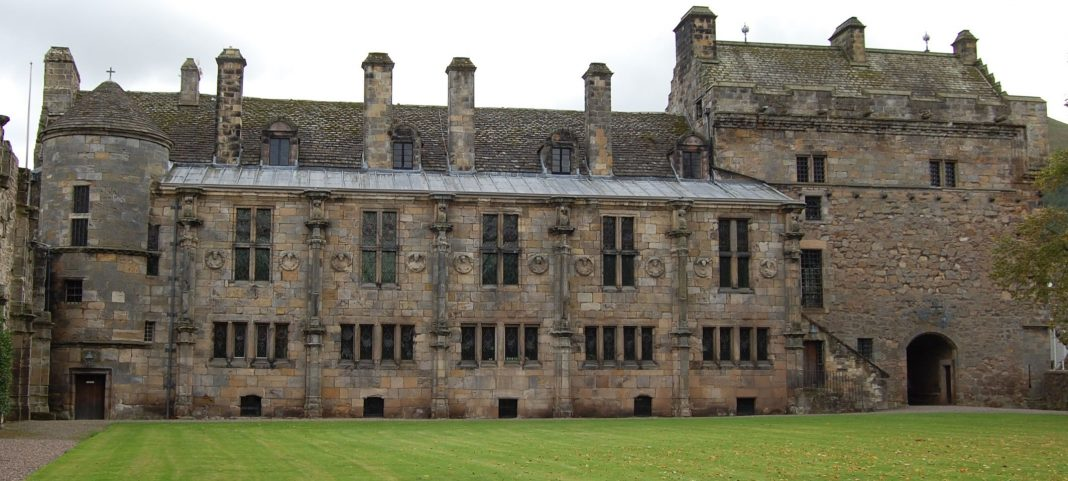 South range of Falkland Palace, the roundels can be seen either side of each of the main windows