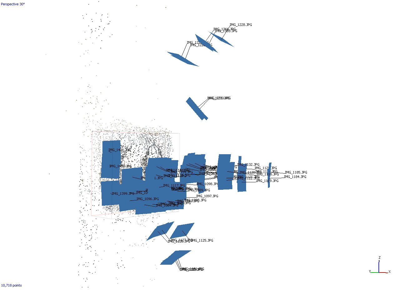 Sparse point cloud and camera positions following image alignment