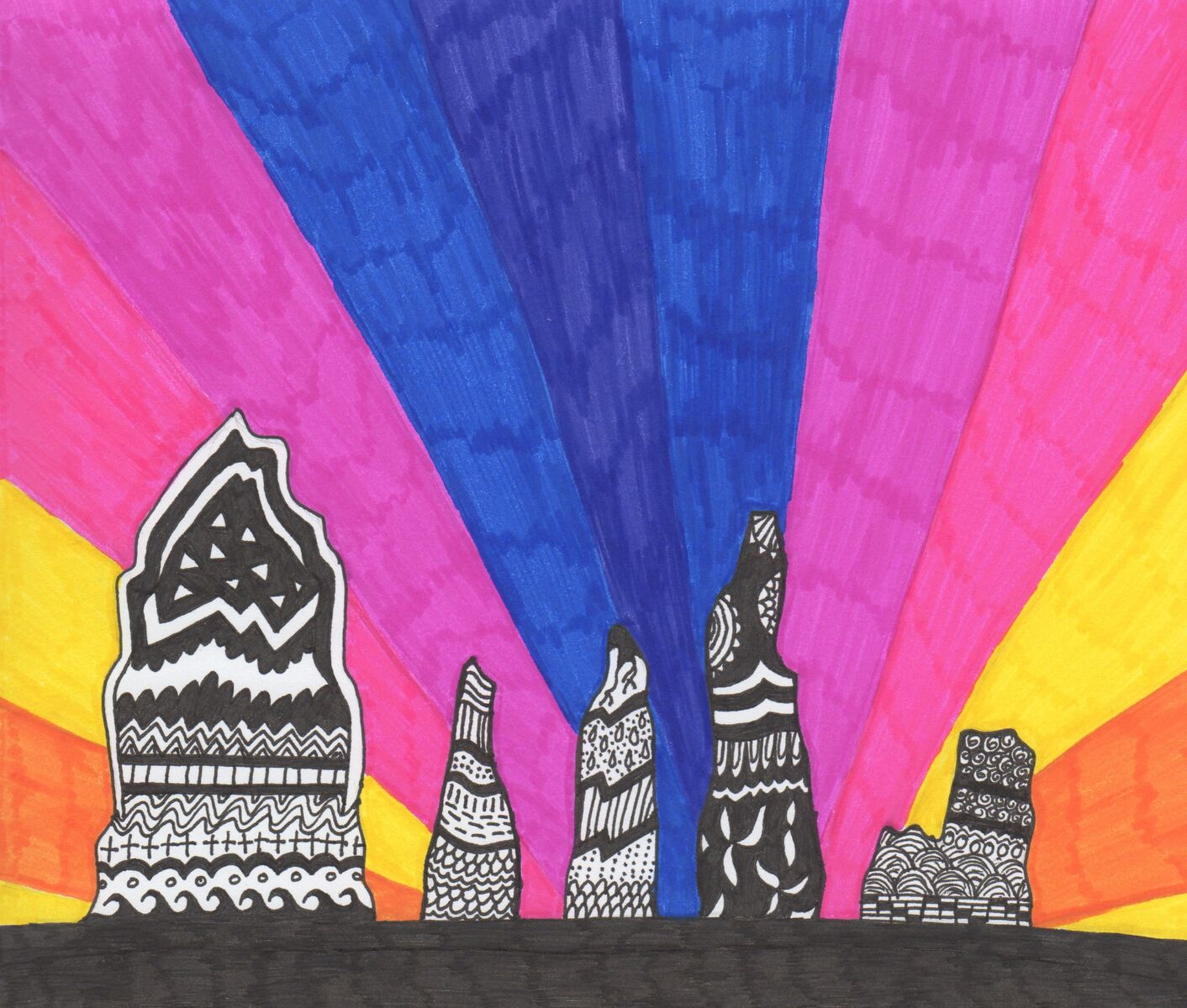 "'The Rainbow Stones' by Darcey Axon Novice (Under 16) Putting the Art in Archaeology - Winner ""I was inspired by a photo taken of the stones with a beautiful sunset. The patterns are what I enjoy drawing at the moment and I thought it suited the shape of the stones."""