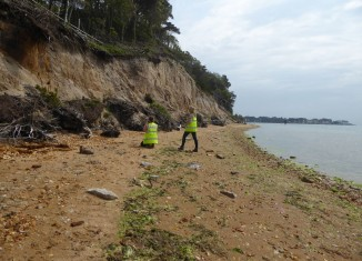 CITiZAN archaeologists assessing cliff erosion © CITiZAN