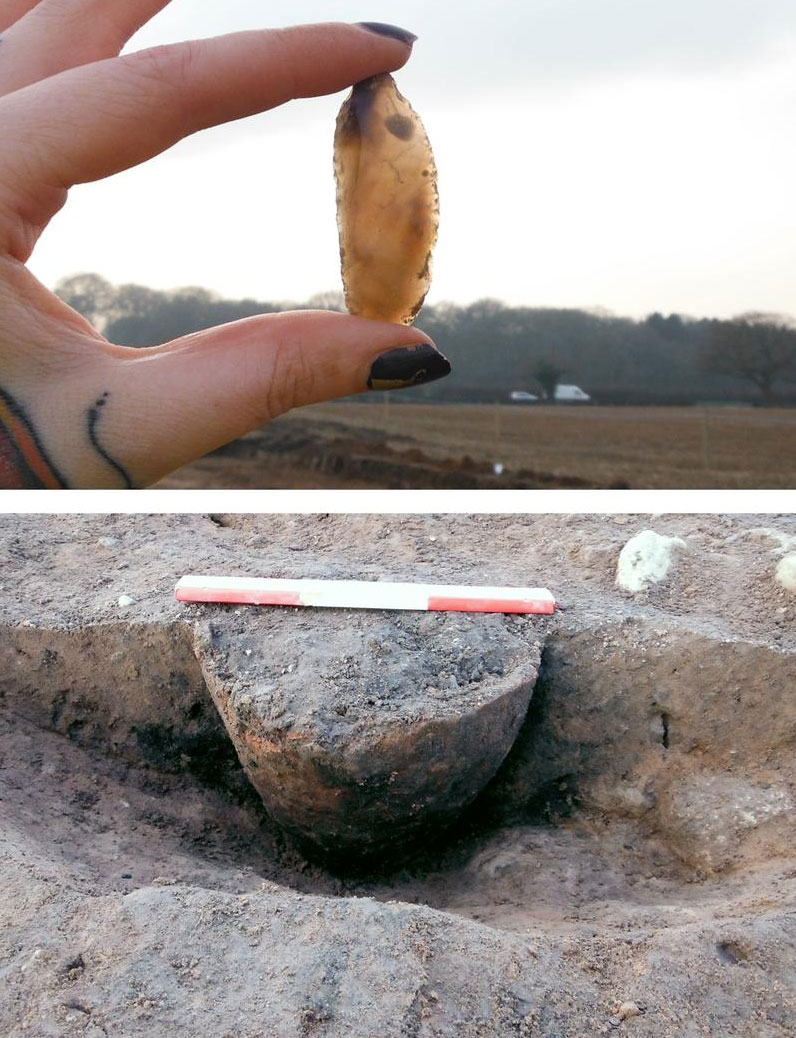 Bucklow Hill - Cremation and Bronze Age flint. Image: Wessex Archaeology