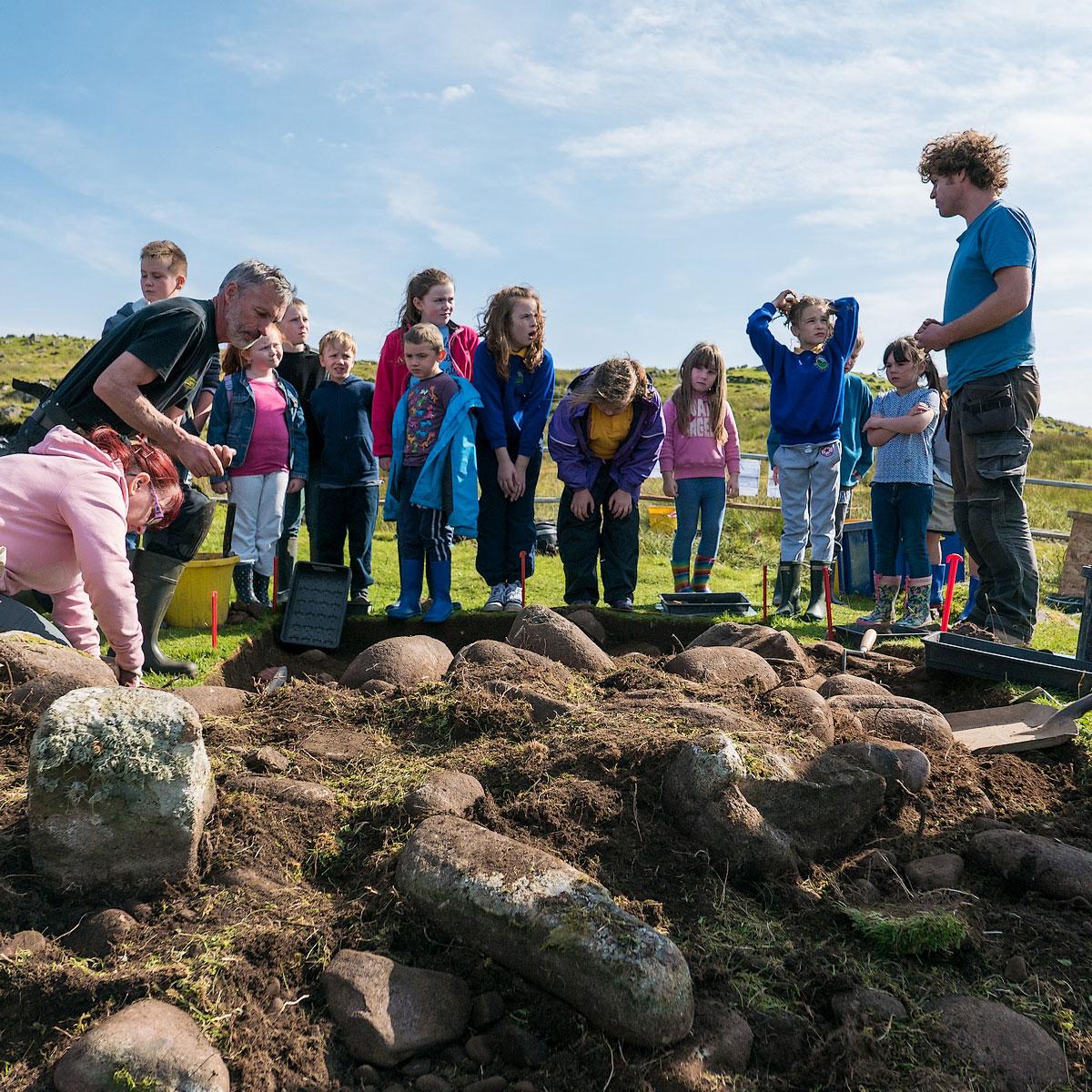 Pupils visit the Staffin dig