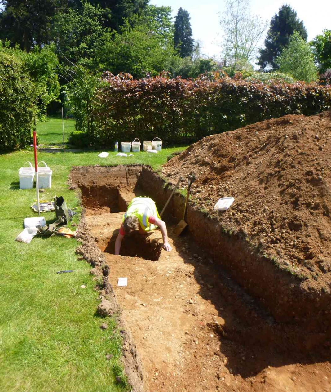 trench being hand-excavated by Trust excavator Alec