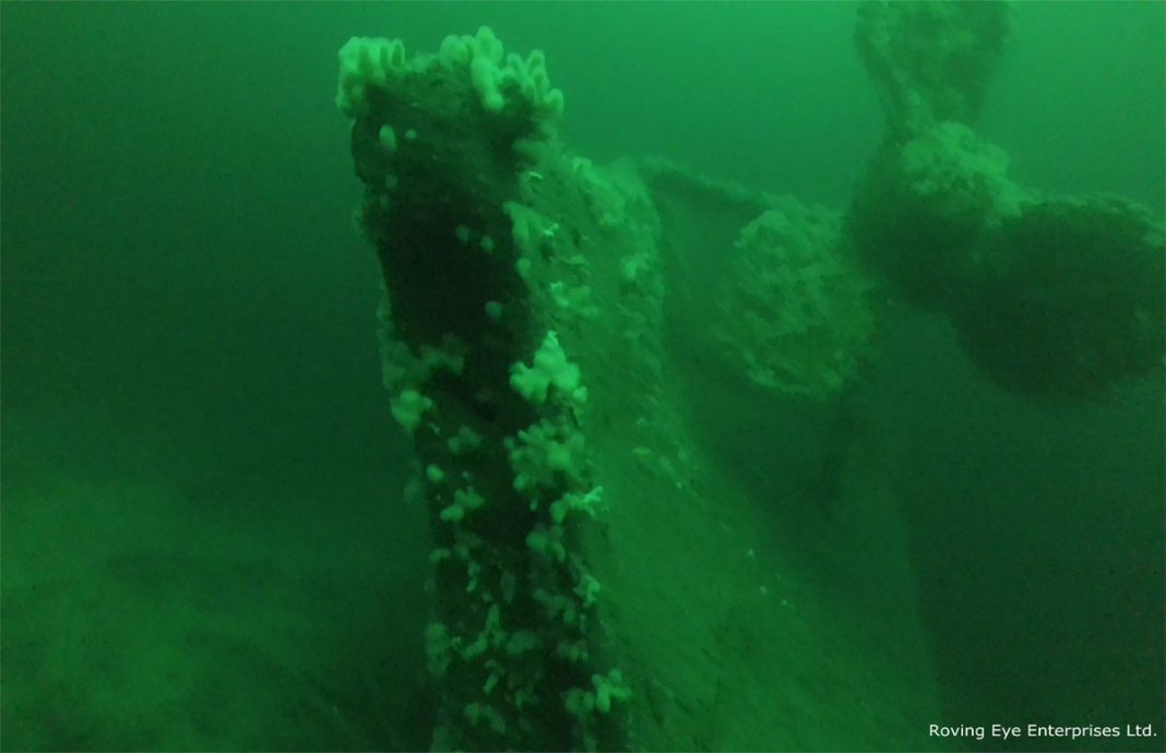 Stern of the vessel showing the portside bronze propeller. The rudder lies on the seabed. The starboard propeller was previously salvaged. (Image by Roving Eye Enterprises Ltd.)