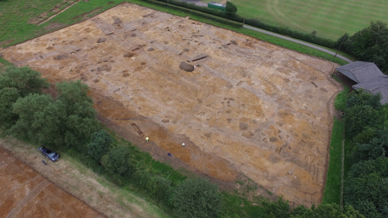 A drone's view of the eastern field during excavation