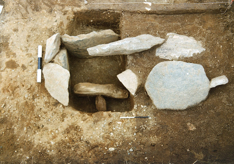 Early Medieval long cist half excavated in 1998 at Balnahanaid © GUARD Archaeology Ltd