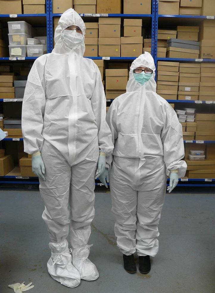 Sharon and Sarah, suited up and ready for sampling