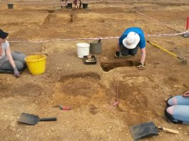 BERTs excavating mid-late Anglo-Saxon post holes. (Image: Philip Hill)
