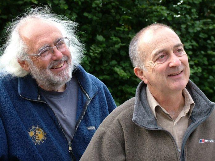 Mick Aston with Tony Robinson. Credit:Steve Shearn