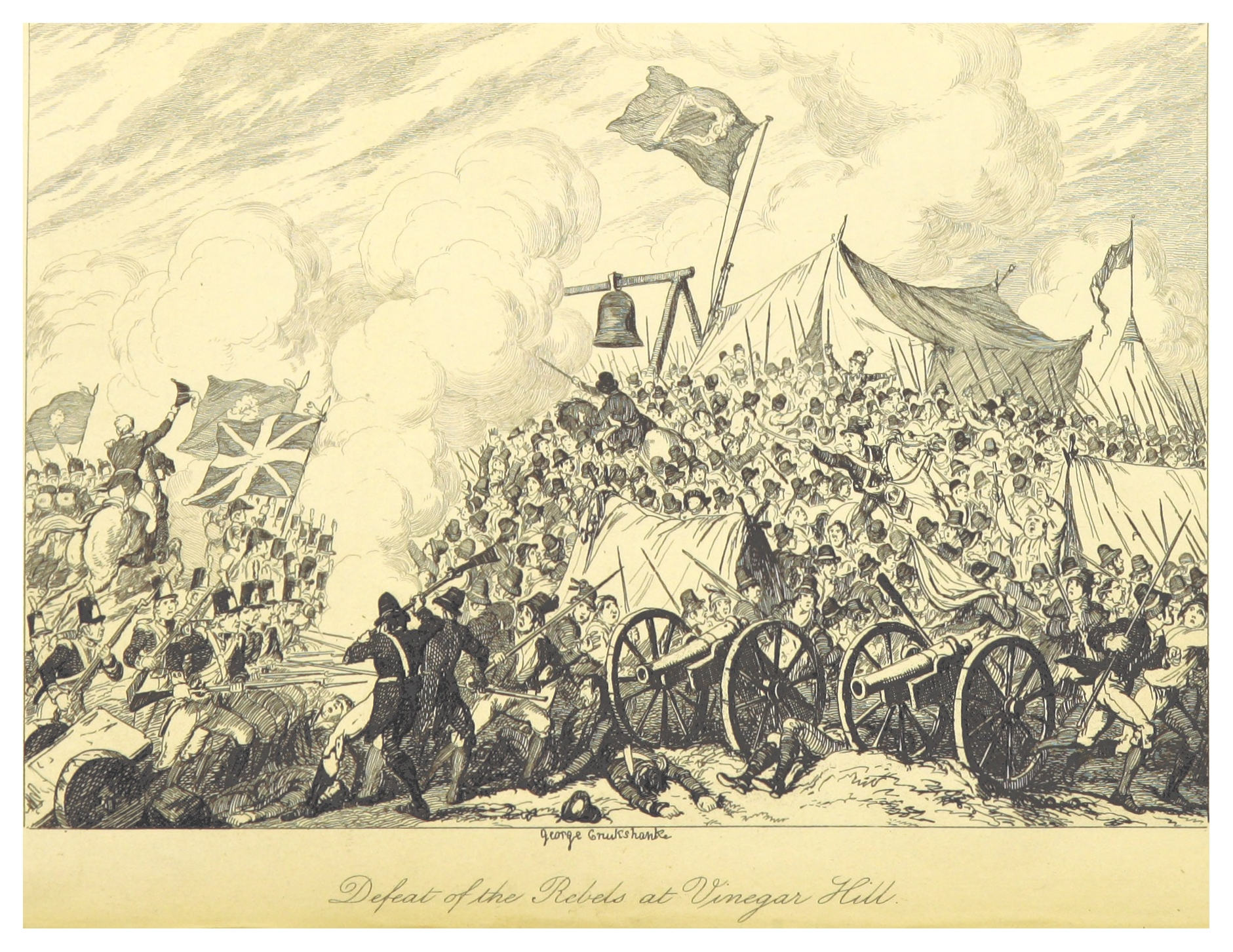 Defeat at Vinegar Hill - illustrated by George Cruikshank (1845).